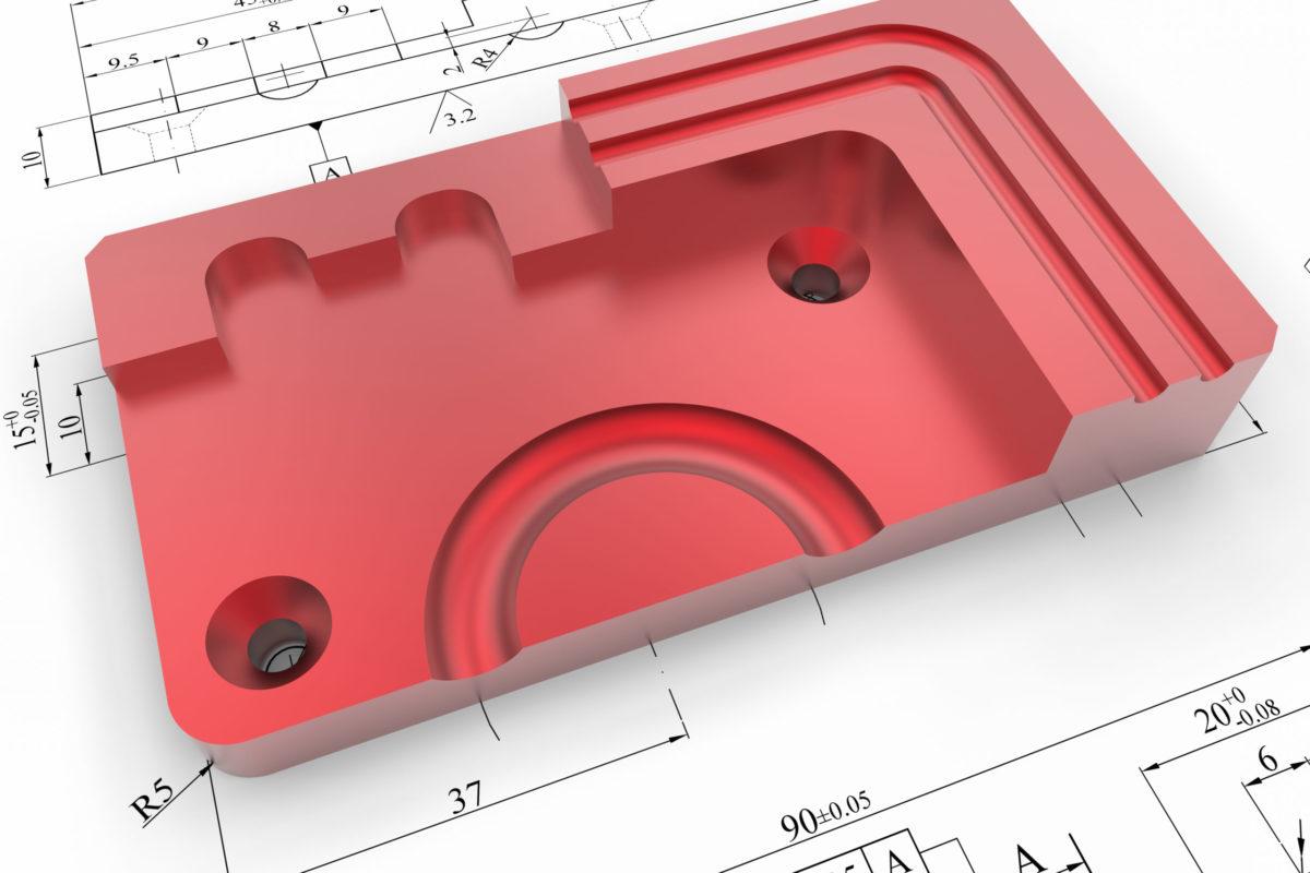 3D render - red CAD part